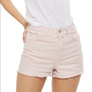Topshop Raw Waist Cutoff Mom Moto Short